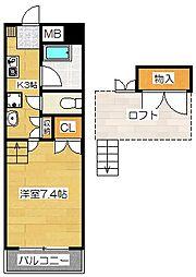 福岡県太宰府市石坂1丁目の賃貸マンションの間取り