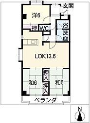 サンパ−ク上新[3階]の間取り
