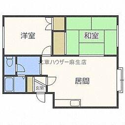 北海道札幌市北区新川四条5丁目の賃貸アパートの間取り