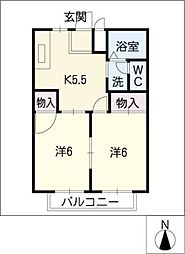 コーポウィンフィールドB棟[1階]の間取り