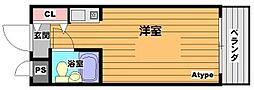 セレーン清和園 3階ワンルームの間取り