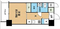 沖縄都市モノレール 美栄橋駅 徒歩13分の賃貸マンション 8階ワンルームの間取り