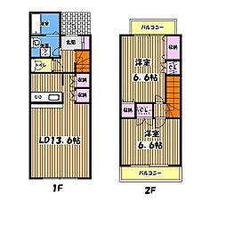 [テラスハウス] 東京都昭島市緑町2丁目 の賃貸【東京都 / 昭島市】の間取り