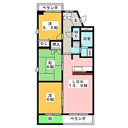 ルネス新岐阜[2階]の間取り