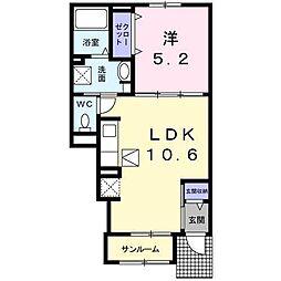 レジデンスT・WEST 2 1階1LDKの間取り