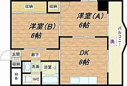 楠青山ハイツ[6階]の間取り