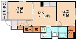 ラスティングハーモニーB[1階]の間取り