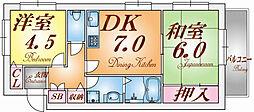 兵庫県神戸市北区鈴蘭台東町3丁目の賃貸アパートの間取り