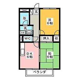 オーガイトKITAOKA B棟[1階]の間取り