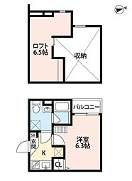 パレ・ローラン尼崎D(パレ・ローランアマガサキディー) 2階1Kの間取り