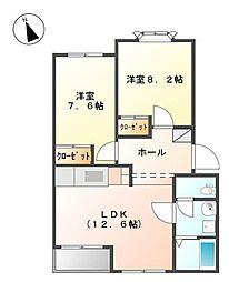 神奈川県相模原市緑区川尻の賃貸アパートの間取り