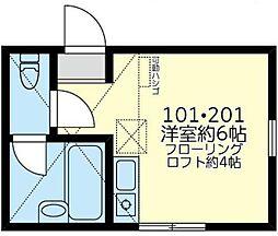東急東横線 白楽駅 徒歩4分の賃貸アパート 2階ワンルームの間取り