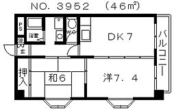 コスミックライフ長居[2階]の間取り