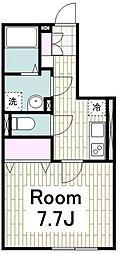 ハイアット湘南 3階1Kの間取り