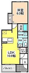 愛知県名古屋市天白区池場4の賃貸アパートの間取り