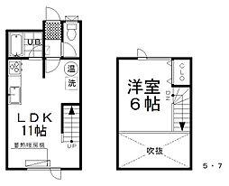 中央マンション 1階1LDKの間取り