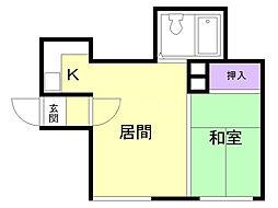 パレスサンホーム 1階1DKの間取り