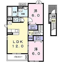 フリーデ A[2階]の間取り