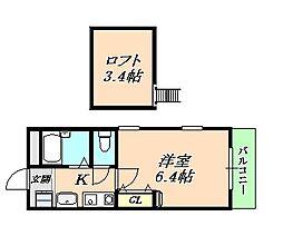 兵庫県神戸市垂水区山手2丁目の賃貸アパートの間取り