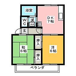 ツインハイムA棟[2階]の間取り