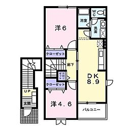 ボヌールタカナオ[2階]の間取り