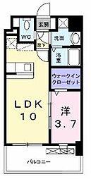 グランドクリーンヒット松田 6階1LDKの間取り