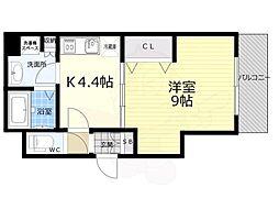 京都市営烏丸線 京都駅 徒歩8分の賃貸マンション 2階1Kの間取り
