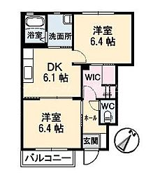 岡山県岡山市北区一宮の賃貸アパートの間取り
