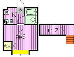 千葉県松戸市小金きよしケ丘2丁目の賃貸アパートの間取り