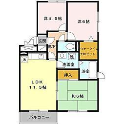 セジュールMEタケイシB[2階]の間取り