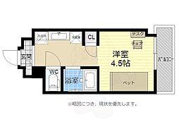 キャンパスヴィレッジ京都西京極 6階1Kの間取り