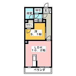 エターナル横浜 3階1LDKの間取り