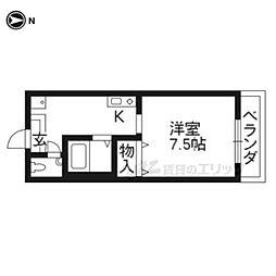京都市営烏丸線 九条駅 徒歩6分の賃貸アパート 1階1Kの間取り