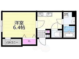 JR東海道・山陽本線 塚本駅 徒歩8分の賃貸アパート 2階1Kの間取り