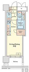 グランドプレシア芝浦 13階ワンルームの間取り