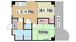 兵庫県神戸市灘区八幡町3丁目の賃貸マンションの間取り