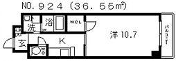 グラート西田辺[2階]の間取り