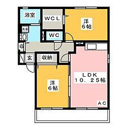愛知県岡崎市戸崎町字藤狭の賃貸アパートの間取り