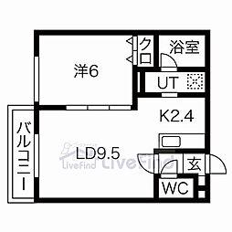 札幌市営東西線 東札幌駅 徒歩6分の賃貸マンション 1階1LDKの間取り