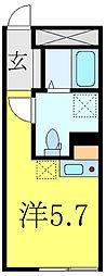 東武東上線 大山駅 徒歩8分の賃貸マンション 3階ワンルームの間取り