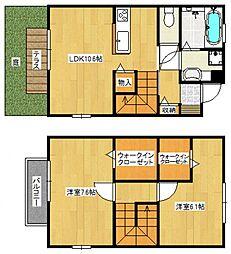 [タウンハウス] 福岡県久留米市南4丁目 の賃貸【/】の間取り