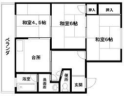 中塚マンションA棟(山側)[1F-6号号室]の間取り