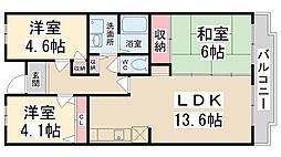 courtひらき坂[402号室]の間取り
