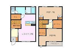 シャンヴェール B棟[1階]の間取り