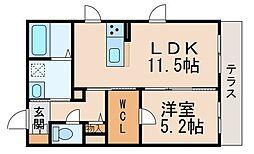 シャーメゾン吉礼 1階1LDKの間取り