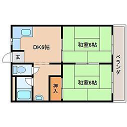 奈良県奈良市南城戸町の賃貸マンションの間取り
