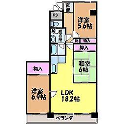 愛媛県松山市桑原6丁目の賃貸マンションの間取り