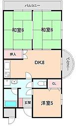 エステート桜塚[201号室]の間取り