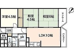 広島県広島市西区己斐本町の賃貸マンションの間取り