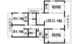 東山台ハイツ[3階]の間取り